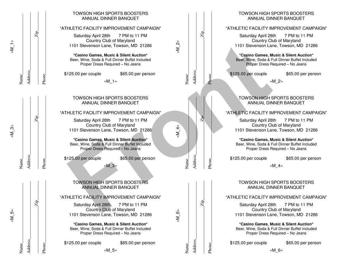 SpecPrint Reprographics – Dinner Tickets Template